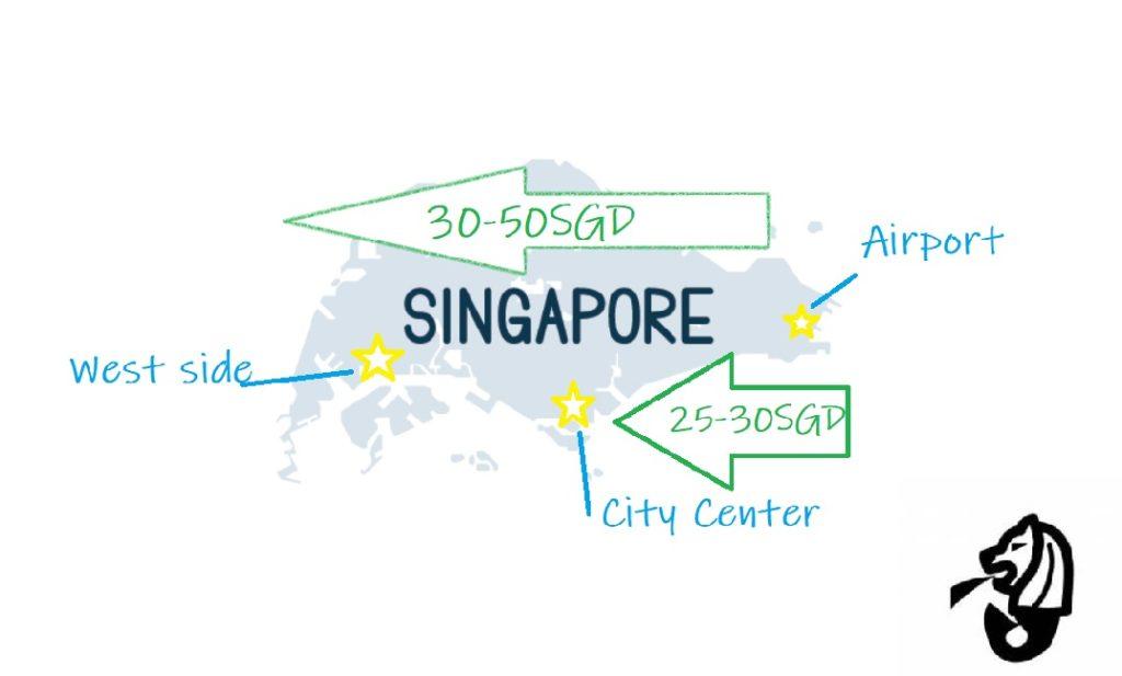 シンガポール国内のタクシー料金地図。空港からかかる料金は最大でも50シンガポールドル