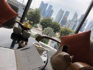 マンダリンアフタヌーンティーから見えるシンガポールの中心部の景色