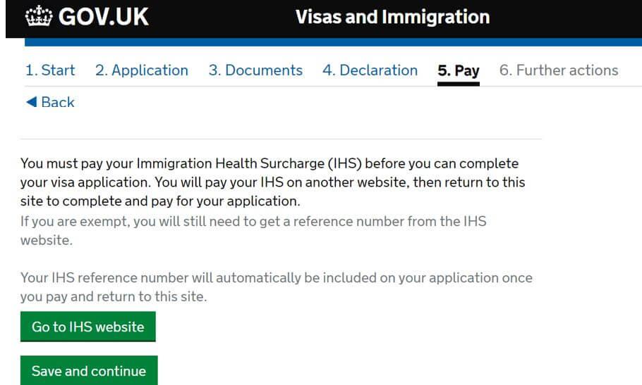IHSの支払いの画面