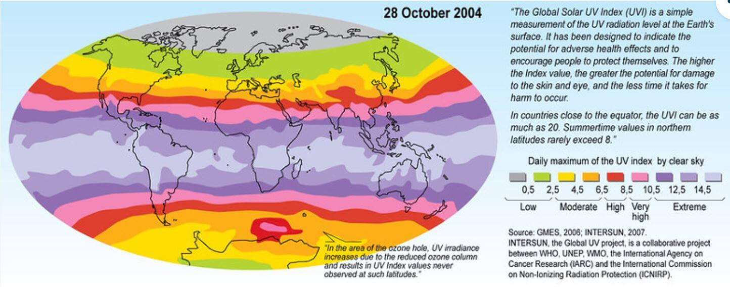 紫外線の強さ世界地図