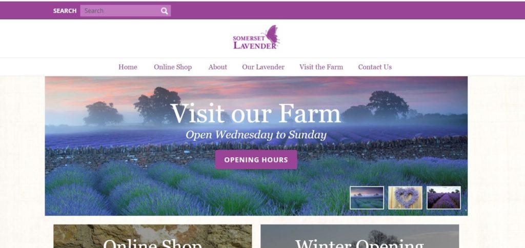 somerset lavender farm のホームページメイン画面